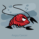Angry horoscope: Cancer. Vector