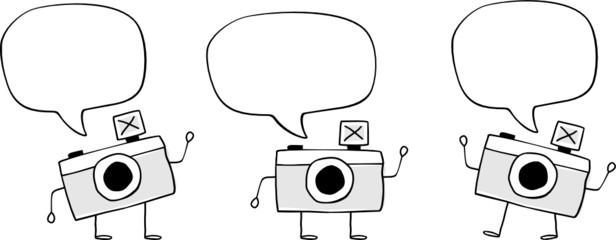 camera doodle cartoon vector