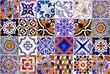 Leinwanddruck Bild - Close up traditional Lisbon ceramic tiles
