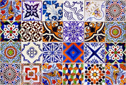 Leinwanddruck Bild Close up traditional Lisbon ceramic tiles
