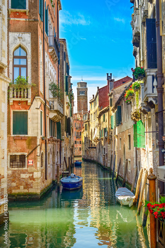 Fotobehang Kanaal Venice cityscape, water canal, church and buildings. Italy