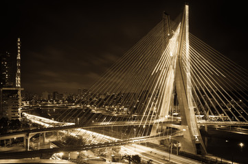 Sao Paulo city bridge at night