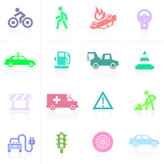 Traffic application icons in color