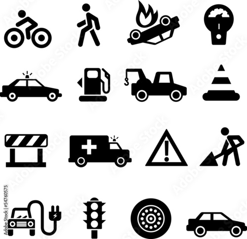 Traffic icons black on white