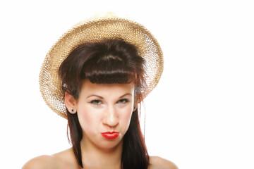 funny sulky brunette girl in hat retro styling