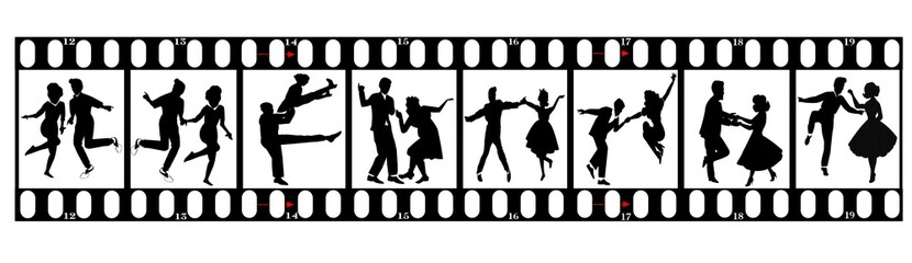 dancers in silhouette on 35 mm film strip