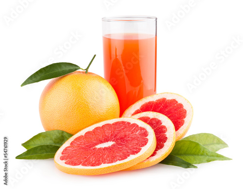 ripe grapefruit with juice