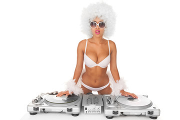 sexy dj woman on white djing