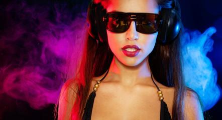 Sexy brunette listening music