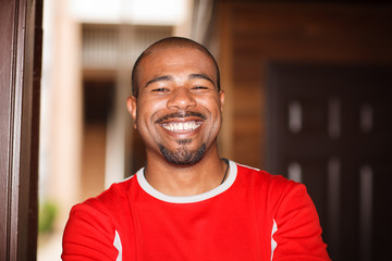 Happy African American man, smiling.