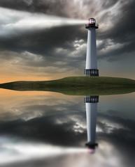 Lighthouse beaming light at night