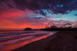 Santa Monica ocean beach and pier at sunset