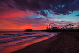Santa Monica ocean beach and pier at sunset
