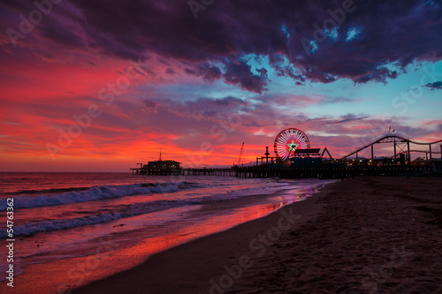 Poster Los Angeles Santa Monica ocean beach and pier at sunset