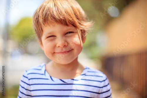 Happy child portrait, closeup