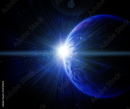 earth against the sun in space