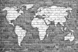 world map on old brick wall