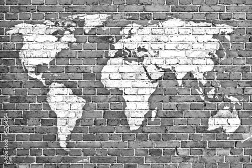world map on old brick wall - 54764554