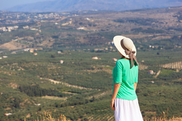 woman on vacation in Crete, Greece