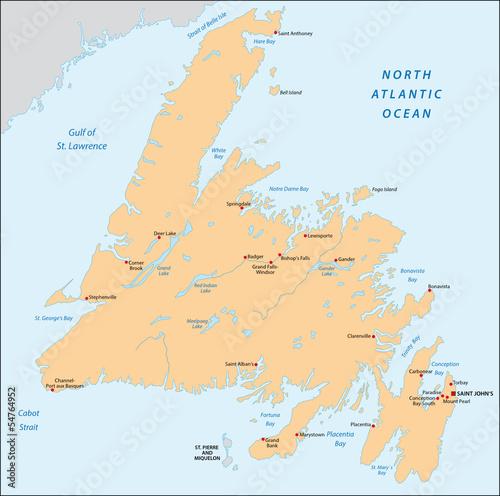 Newfoundland, map