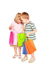 Children shopping. Young couple, little boy and little girl