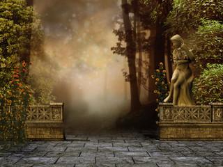 Ogród z kamiennym murem i posągiem kobiety