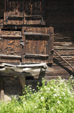 Old wooden mazot huts in Zermatt in the Swiss Alps