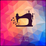 Old sewing machine on hipster background made of triangles with