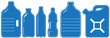 blue set with isolated plastic can and bottle silhouette