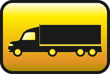 glossy yellow button with american truck