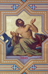 Vienna - Fresco of prophet Jonah  in Altlerchenfelder church