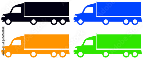 set colorful isolated trucks - american lorry silhouette
