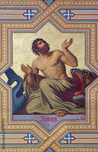 Vienna - Fresco of prophet Jonah  in Altlerchenfelder church