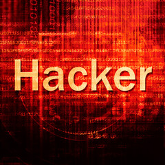 Hacker Text In red Code Background