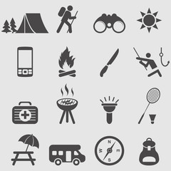 Camping icons set.Vector