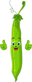 Cartoon garden peas Character giving thumbs up