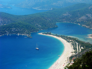 panorama of blue lagoon and beach oludeniz turkey