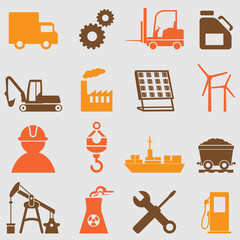 Industry icons set.Vector