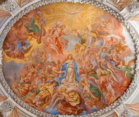 Vienna  -  Coronation of Holy Mary  fresco in Klosterneuburg