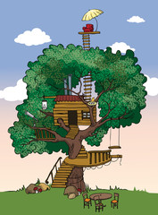 Tree House, vector illustration