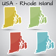 stickers in form of Rhode Island state, USA