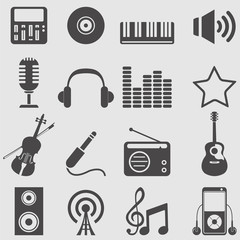 Music icons set.Vector