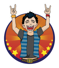 Boy doing devil horns and screaming, vector illustration