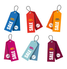 Collection of colorful price tags