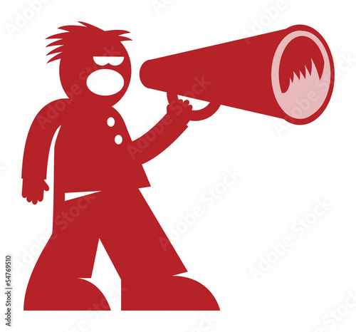 Man with Megaphone, vector illustration