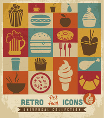 Fast food icons set.vector