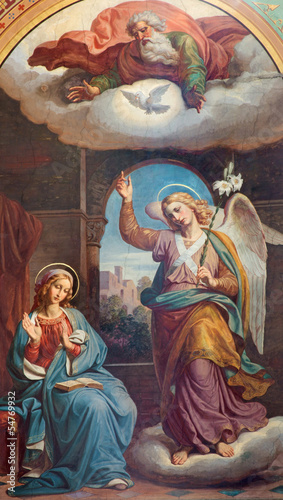 Vienna - Fresco of Annunciation in Altlerchenfelder church