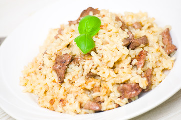 Risotto with liver