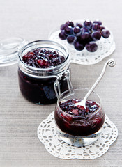 Pears grape jam in glass