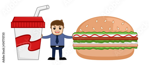 Lunch Time - Cartoon Business Vector Character